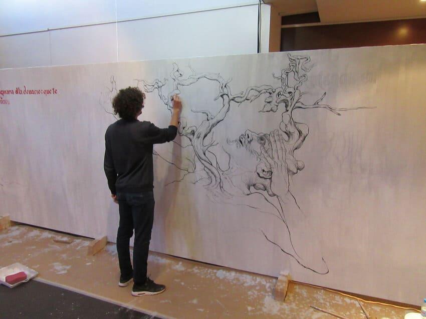 Proyecto mural de street art en Madrid por chamo San