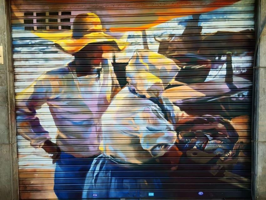 Persianas pintadas de comercios en Barcelona