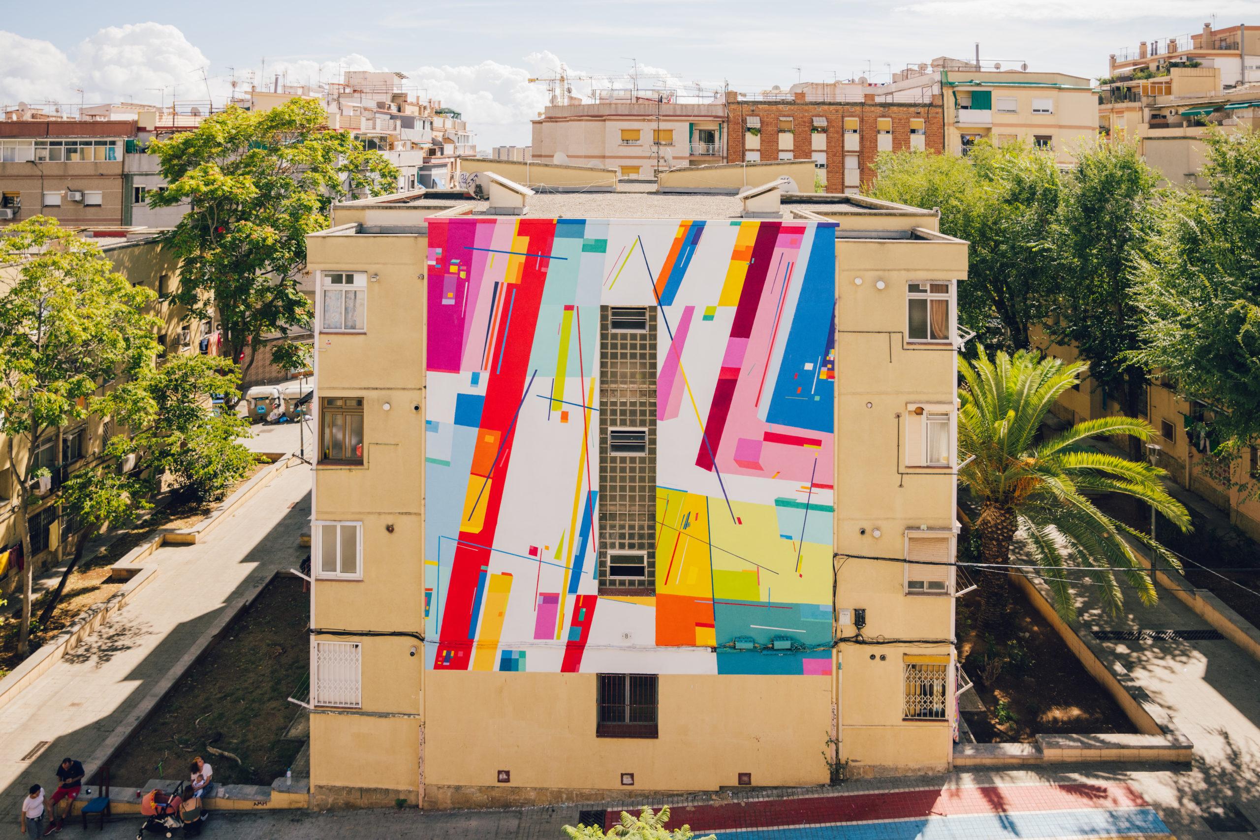 Mural de arte urbano en Hospitalet, cataluña